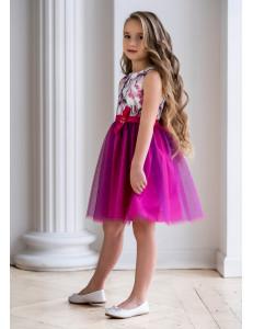 Платье нарядное ярко-розового цвета Милора