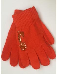Перчатки осенние кораллового цвета с золотыми стразами