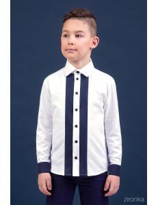 Сорочка белого цвета с темно-синими полосами