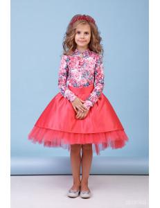 """Комплект нарядный для девочек кораллового цвета """"Кокетка"""""""
