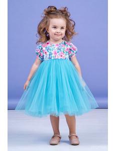 """Платье нарядное лазурного цвета с узорами """"Spring"""""""