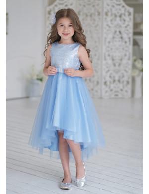 Платье нарядное голубого цвета с пайетками Эльза